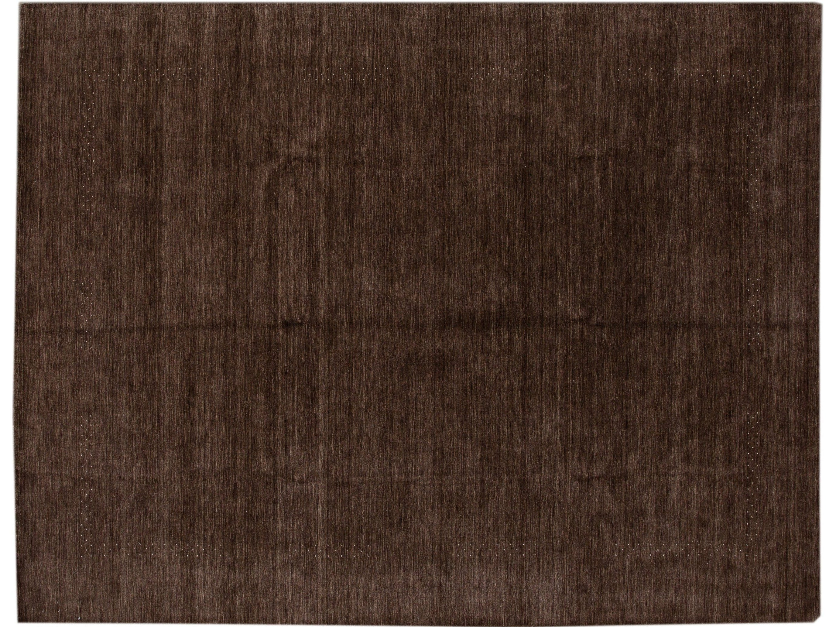 Modern Gabbeh Style Handloom Brown Geometric Wool Rug