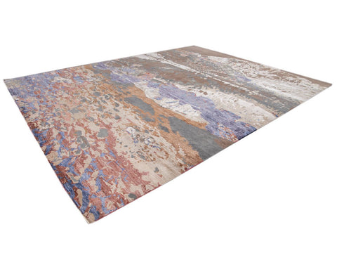 Modern Abstract Wool and Silk Rug 12 X 15