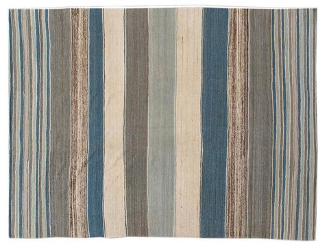 Modern Flat-Weave Kilim Striped Wool Rug 9 X 12