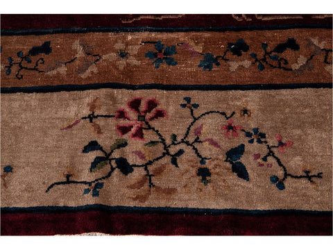 Early 20th Century Antique Chinese Art Deco Wool Rug 12 X 15