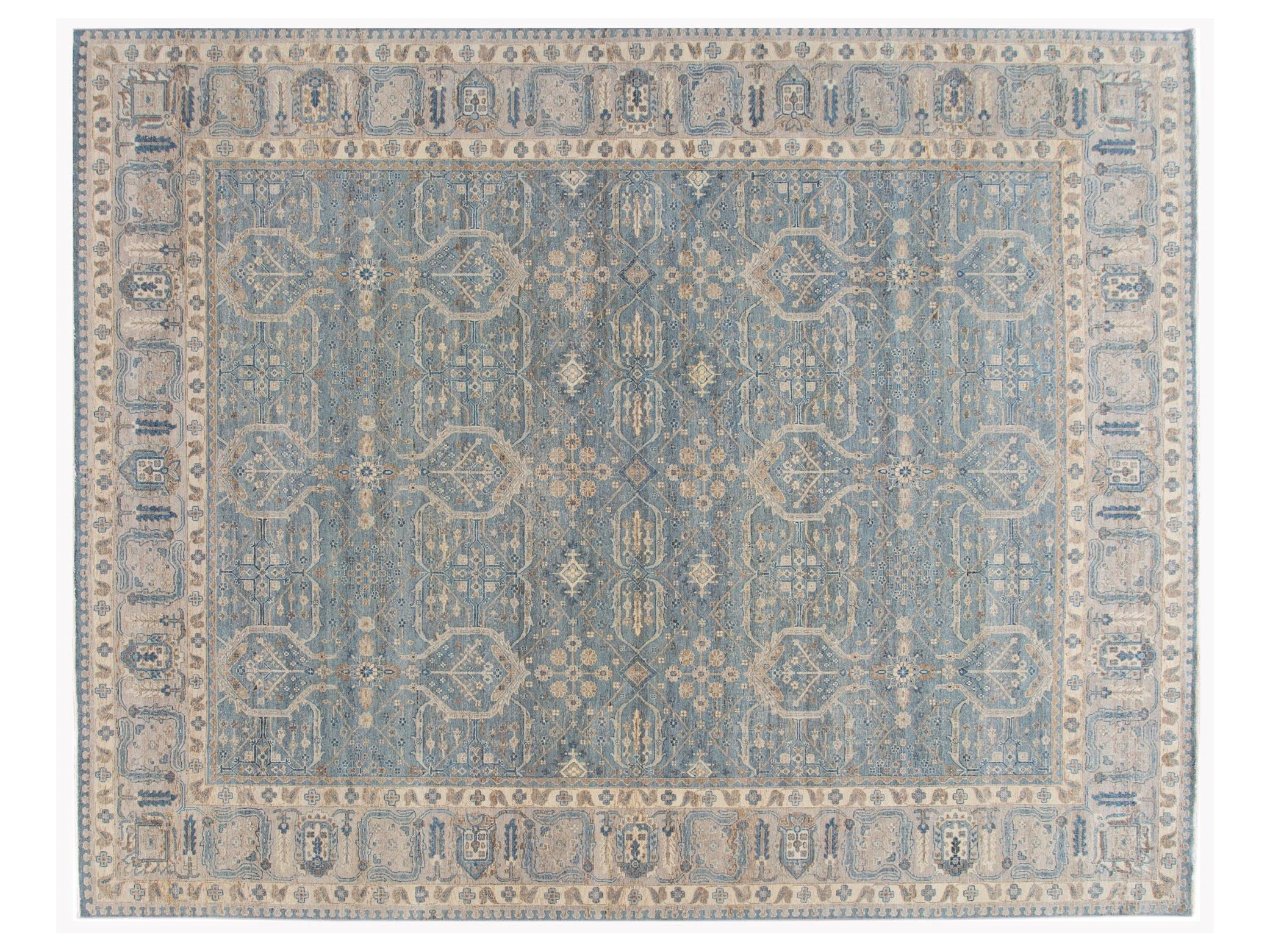 Apadana 21st Century Contemporary Indian Wool Rug, 12 X 15