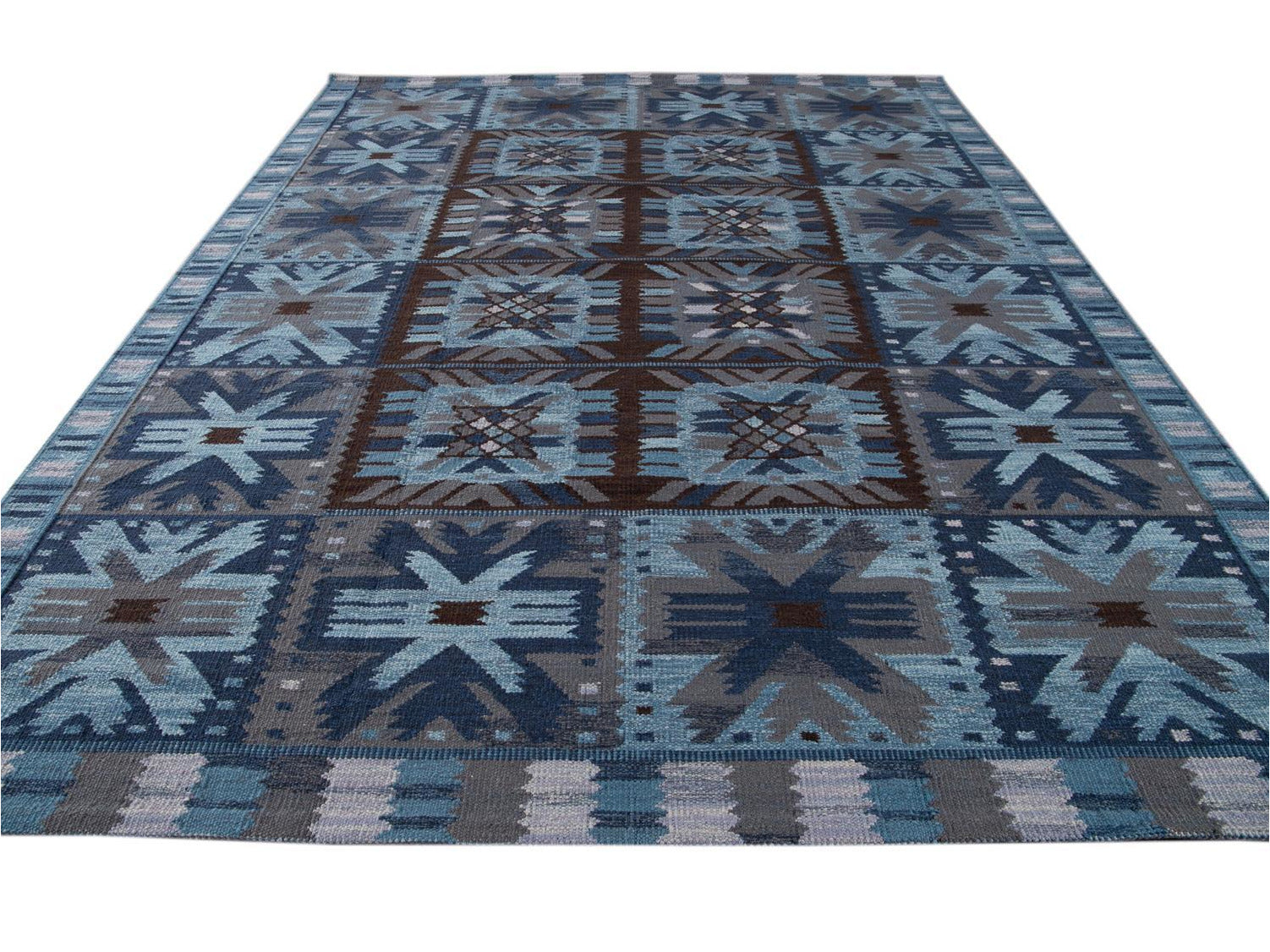 21st-Century Blue Modern Swedish Style Wool Rug