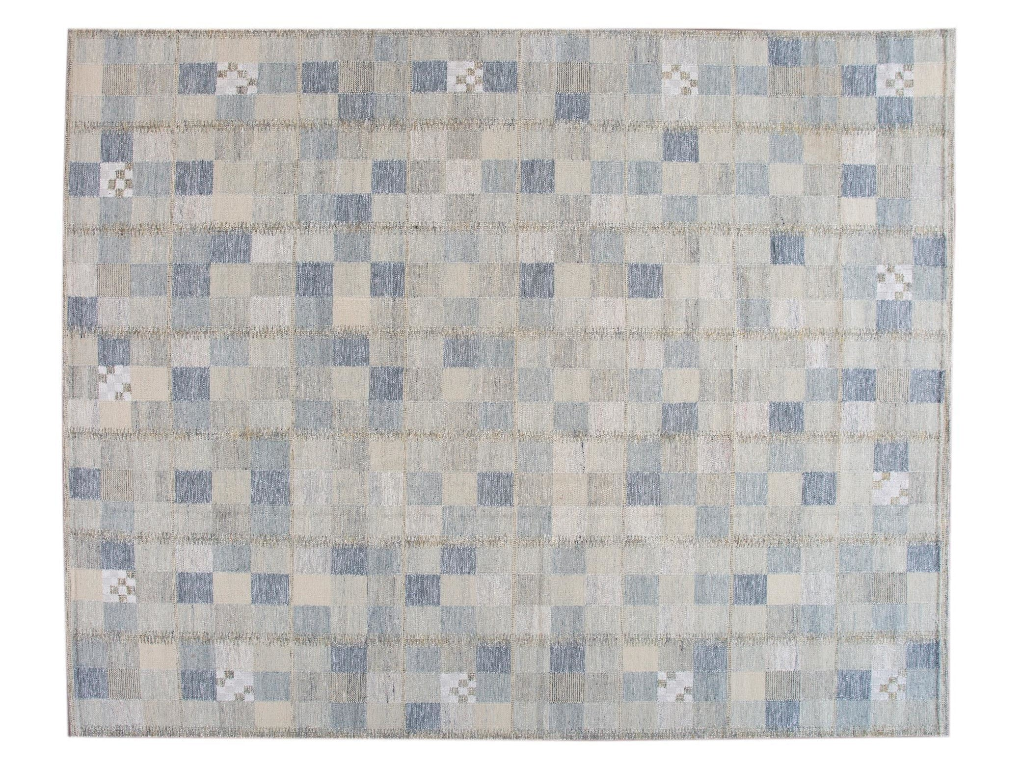 New  Contemporary Scandanvian Wool Rug, 12 X 15