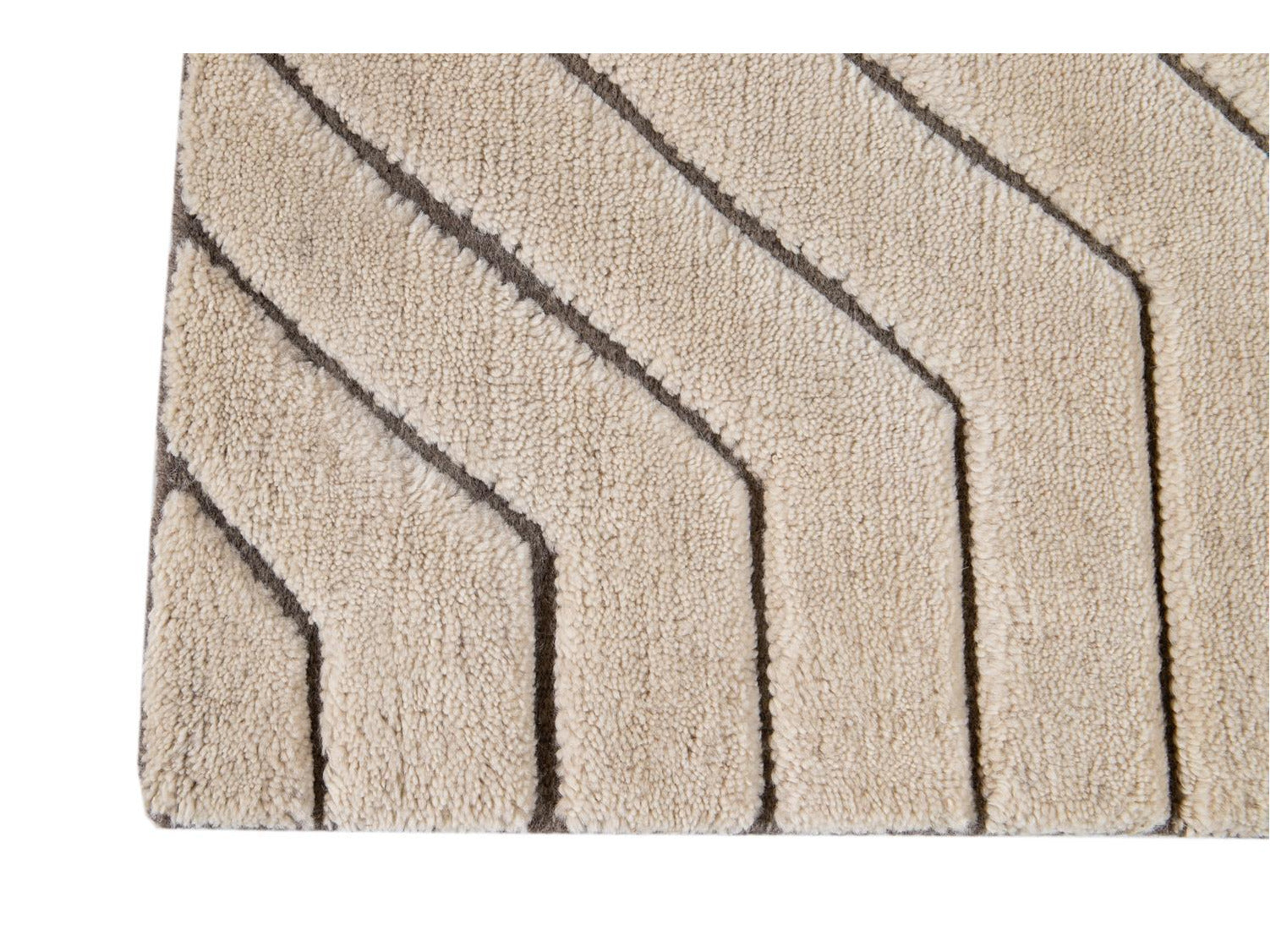 Ivory And Brown Textured Wool Custom Rug
