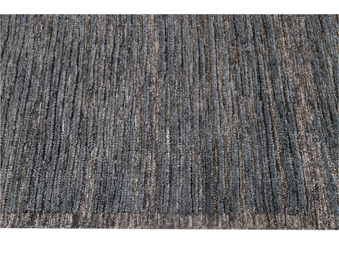 21st Century Contemporary Textured High Low Wool Rug, 9' x 12'