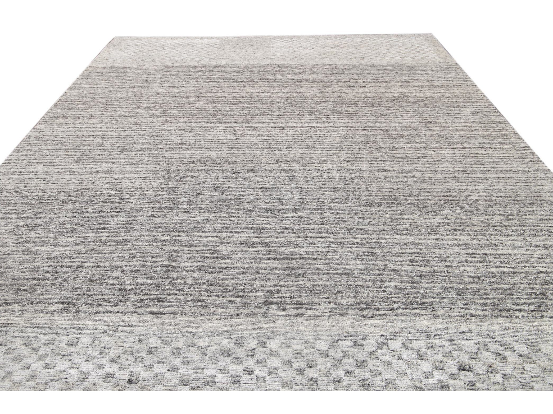 Contemporary  Textured Loop Wool Rug 10 X 14