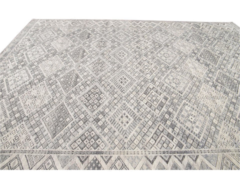 21st Century Modern Textured High Low Wool Rug, 11' x 14'
