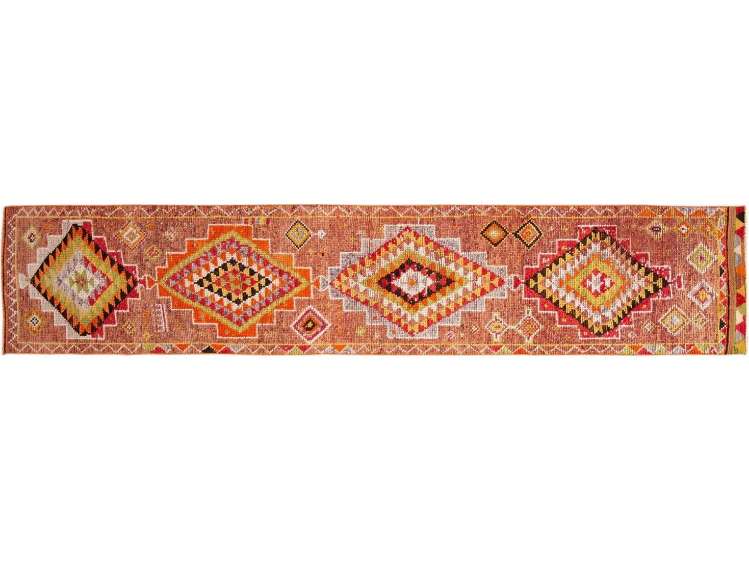 Early 20th Century Vintage Turkish Wool Runner Rug 3 X 14