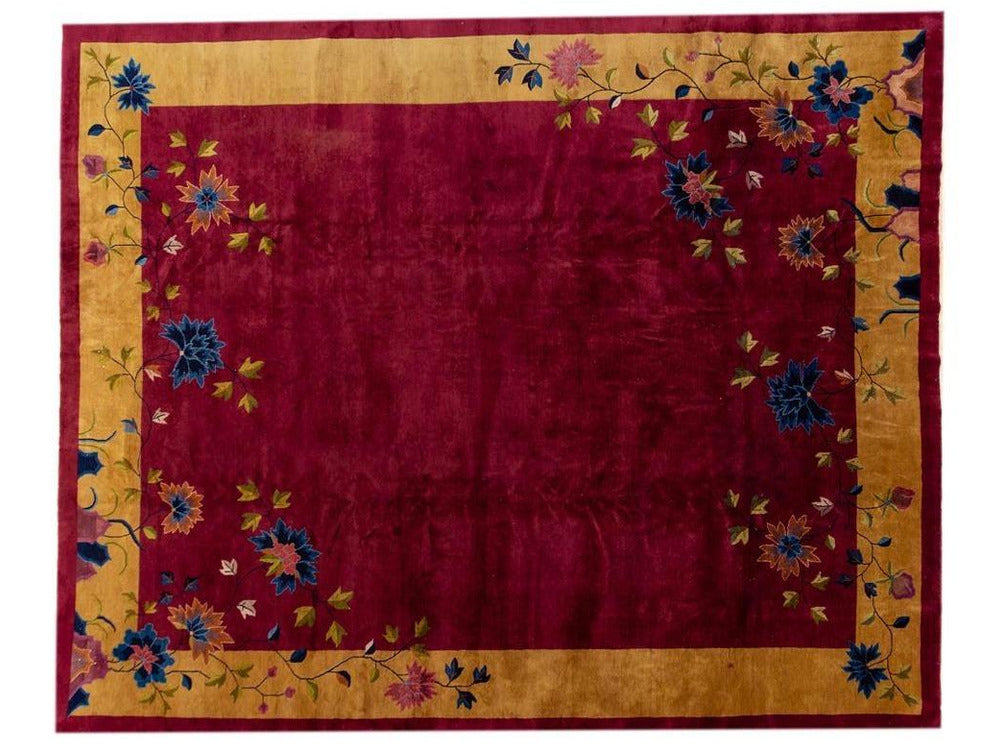 Antique Red Chinese Deco Wool Rug 12 X 15