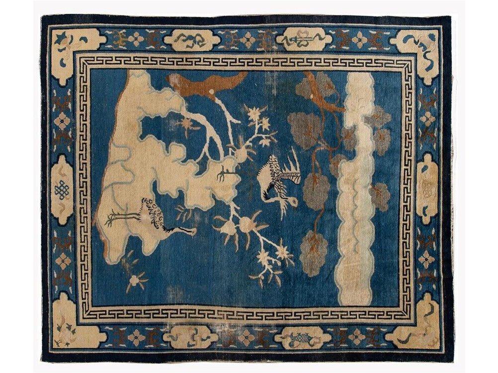 Early 20th Century Antique Art Deco Chinese Peking Wool Rug 8 X 9