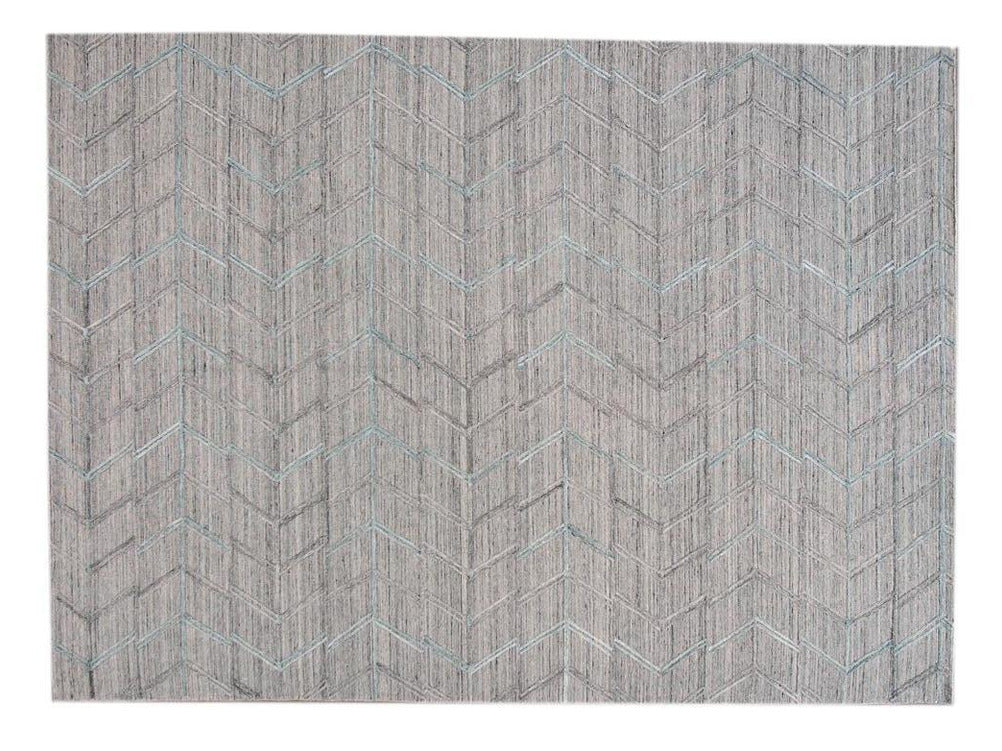 Modern Gray Indian Transitional Flat-Weave Wool Rug  9 X 12