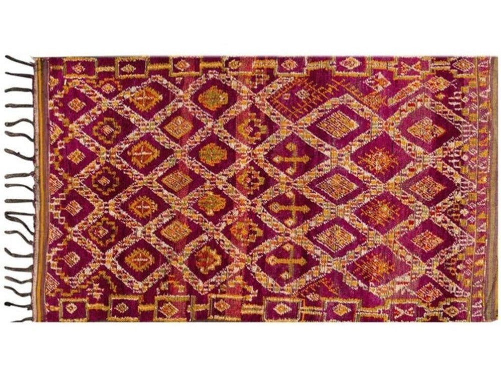 Mid-20th Century Vintage Colorful Geometric Moroccan Wool Rug 5 X 9