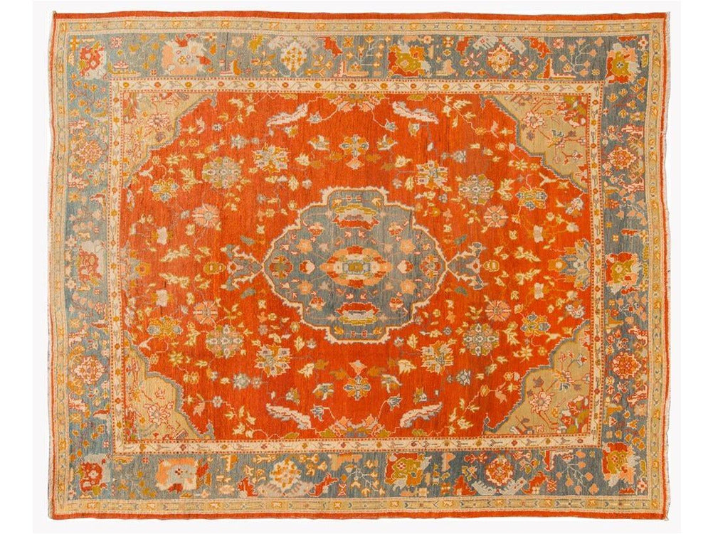 Antique Turkish Oushak Wool Rug 10 X 13