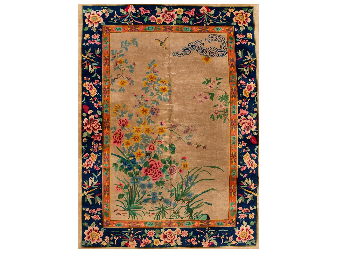 Antique Colorful Chinese Nichols Wool Rug 10 X 14