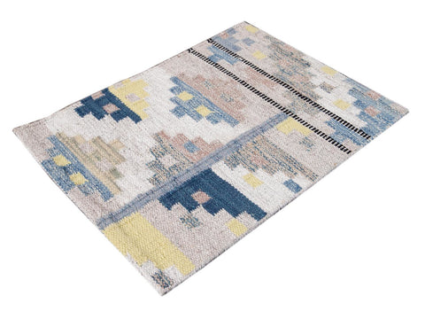 Beige And Blue Wool Scandinavian-style Kilim Custom Rug