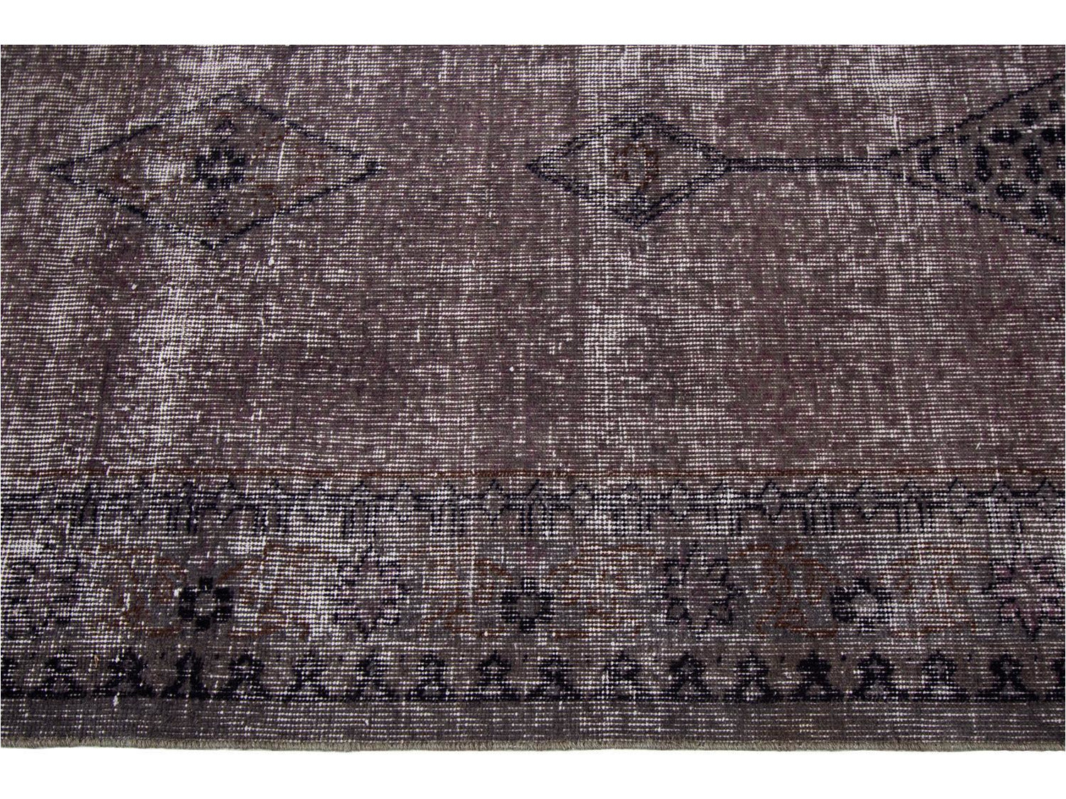 Mid- 20th Century Oversize Distressed Gray Overdyed Wool Rug 11 x 17