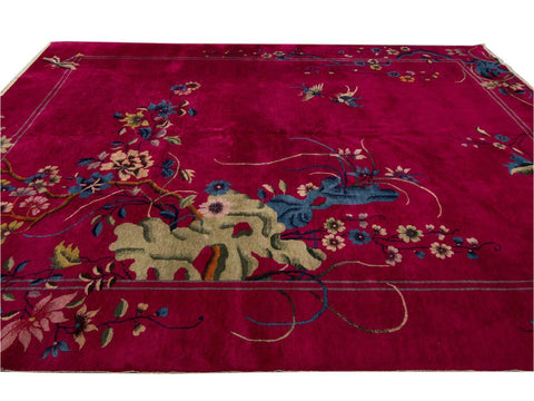 Antique Art Deco Chinese Rug 9 X 12