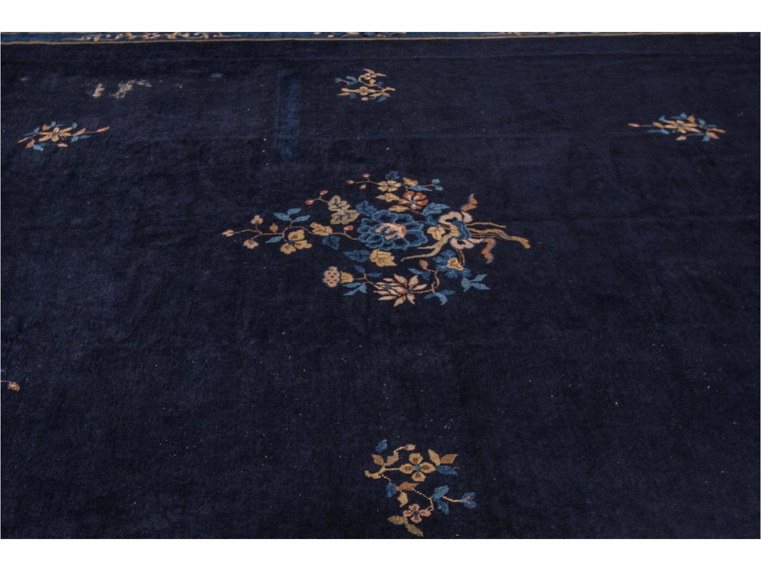 Antique Blue Chinese Art Deco Wool Rug 12 X 17