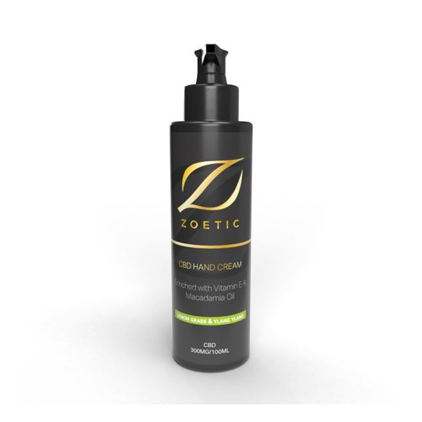Zoetic 300mg CBD Hand Cream 100ml - Lemongrass & Ylang Ylang - Flavourclouds Discount Vape