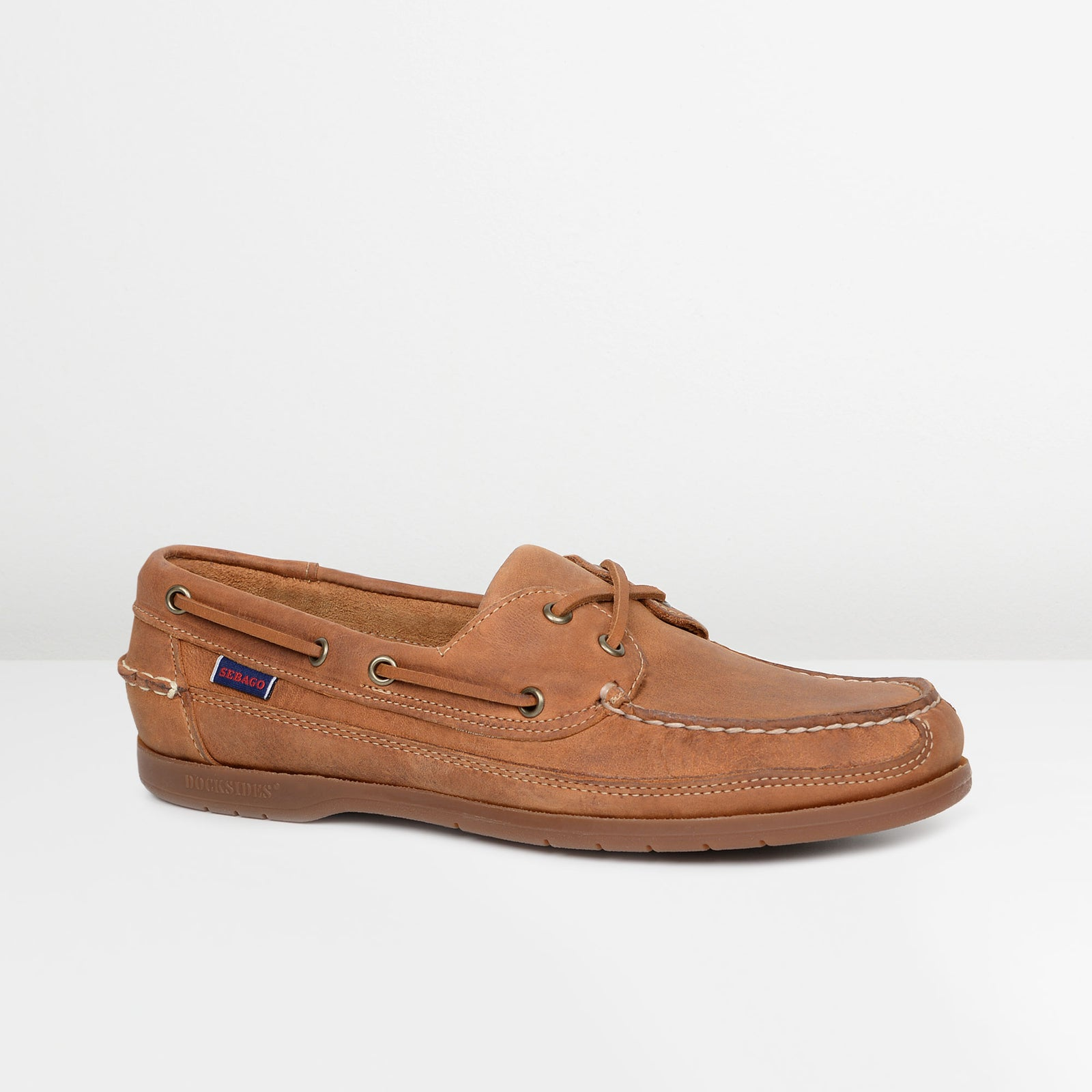 Brown Tan Vintage Leather Schooner Boat Shoes