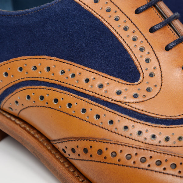 Cedar Leather/Navy Suede McLean Oxford Brogues