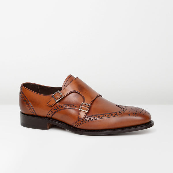 Antique Rosewood Fleet Double Monk Strap Brogues