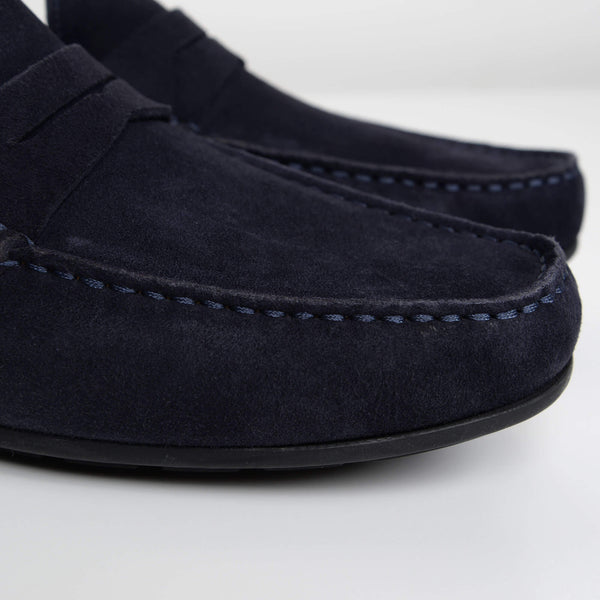 Navy Suede Goodwood Moccasins