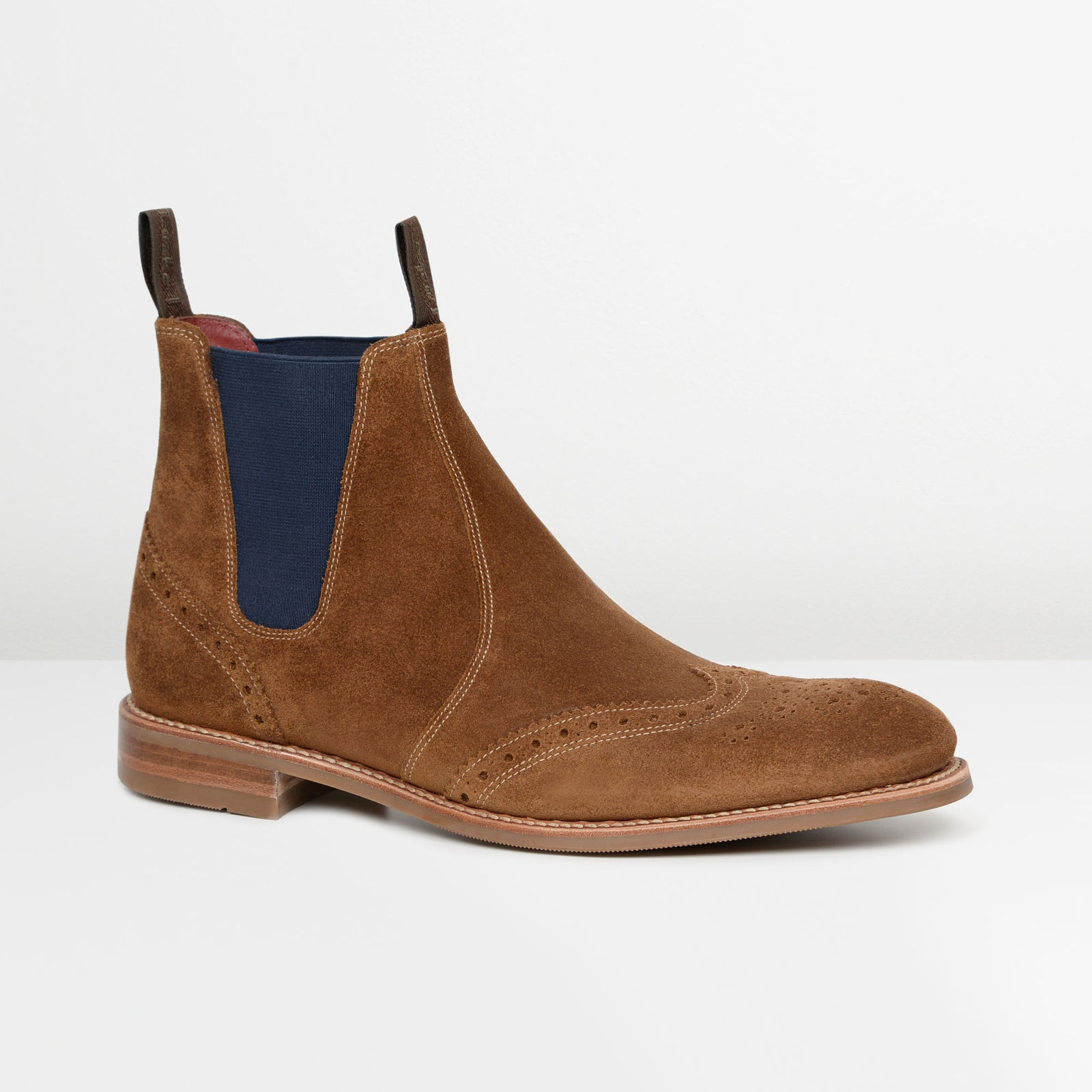 Tan Suede Hoskins Brogue Chelsea Boots