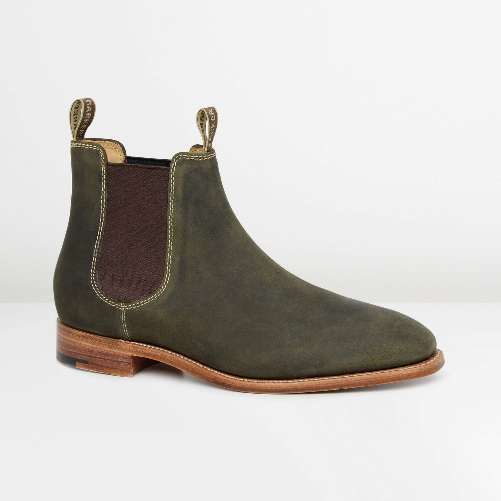 Green Waxy Suede Mansfield Chelsea Boots