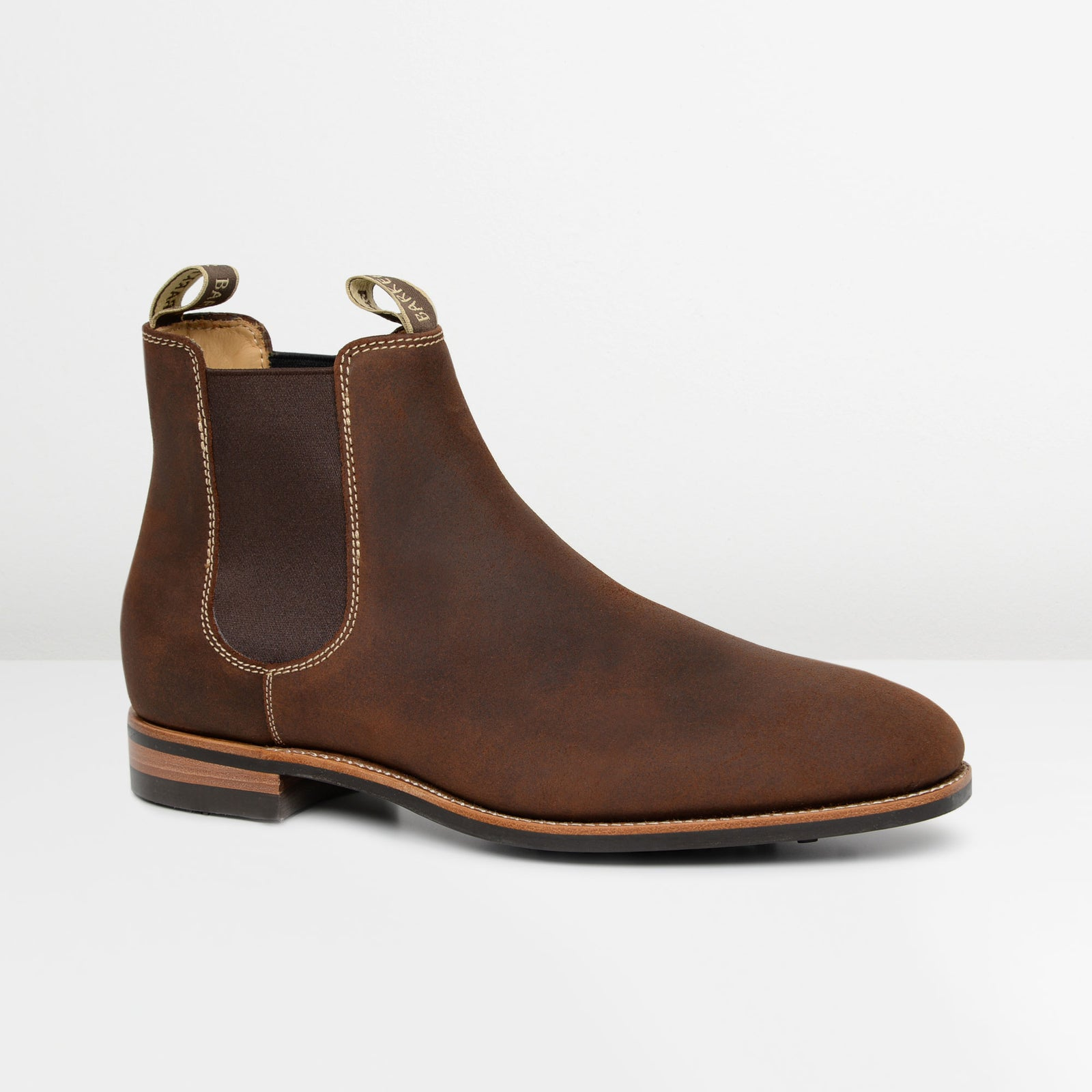 Brown Waxy Suede Mansfield Dainite Chelsea Boots