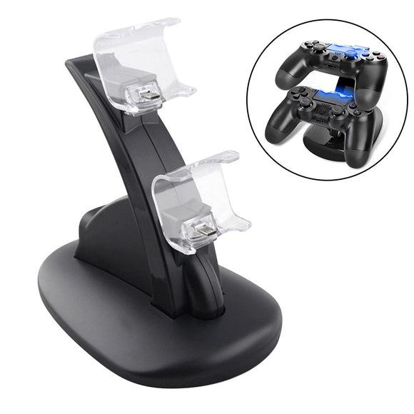 PS4 Controller Charger Charging Station Dual USB Charger Charging Stand Dock Dual USB Fast Charging Station and LED Indicator for Playstation 4 PS4 Controller and PS4 Pro Controller (Black)
