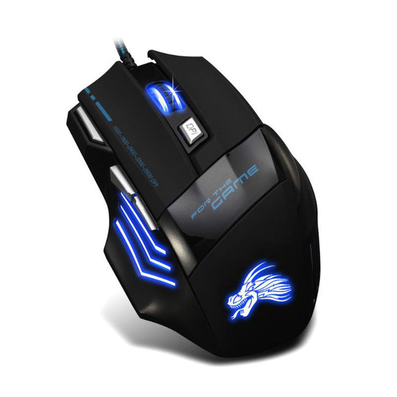 Wired Gaming Mouse With 5500DPI Adjustable 6 Buttons Cable USB LED