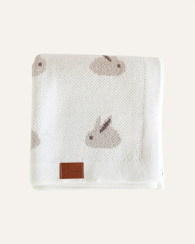 RABBITS KNITTED BLANKET - BØRN BABY
