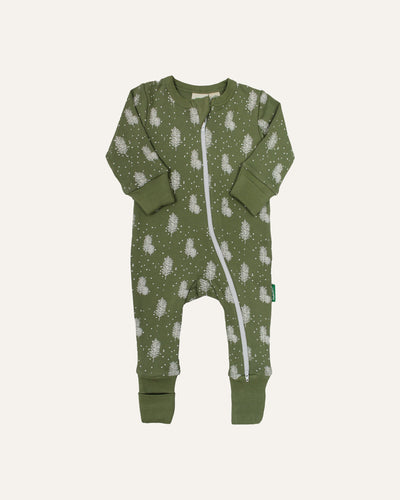 SNOWY TREES ZIP COVERALL - BØRN BABY
