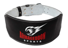 Load image into Gallery viewer, Weight Lifting Belt 6 Inch Genuine Leather Padded Gym Belt Premium Quality by Armageddon Sports