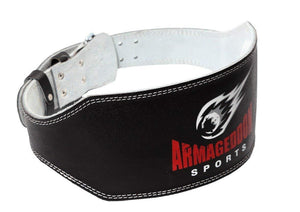 Weight Lifting Belt 6 Inch Genuine Leather Padded Gym Belt Premium Quality by Armageddon Sports