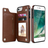 Leather Case For iPhone X 6 6s 7 8 Plus Multi Card Holders Phone