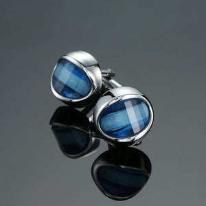 Novelty Luxury Blue white Cufflinks for, Mancuernas  corona de cristal oro plata gemelos camisa