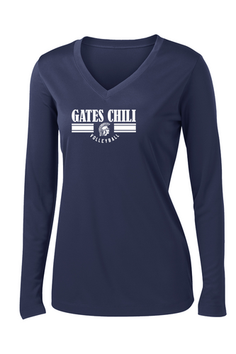 Ladies V-Neck Performance Long Sleeve - GATES CHILI VOLLEYBALL