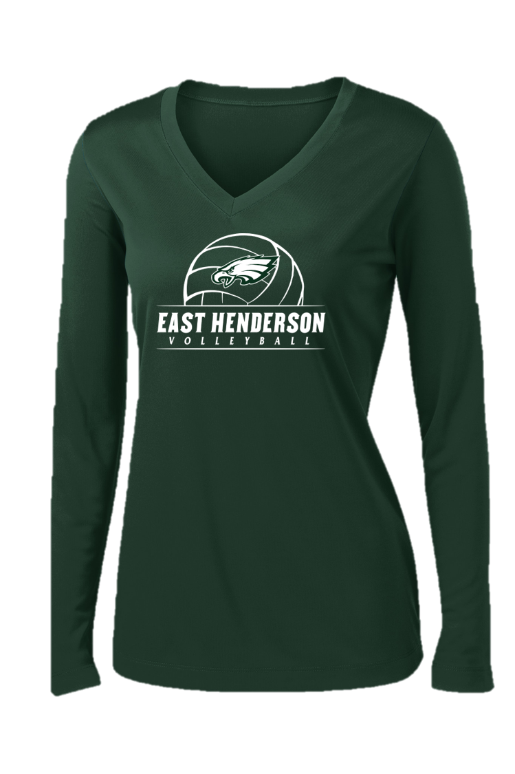 Ladies V-Neck Performance Long Sleeve - East Henderson Volleyball