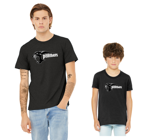 BELLA+CANVAS Unisex Black Heather Short Sleeve Tee - Youth/Adult - Linwood Panthers Football