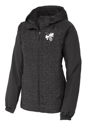 *Ladies Heather Raglan Hooded Wind Jacket - Little Falls Middle School