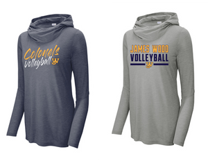 Ladies Tri-Blend Wicking Long Sleeve Hoodie - JAMES WOOD VOLLEYBALL