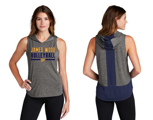 Ladies Tri-Blend Wicking Draft Hoodie Tank - JAMES WOOD VOLLEYBALL