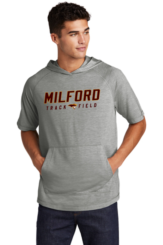 Tri-Blend Wicking Short Sleeve Hoodie - Adult - Milford Track & Field