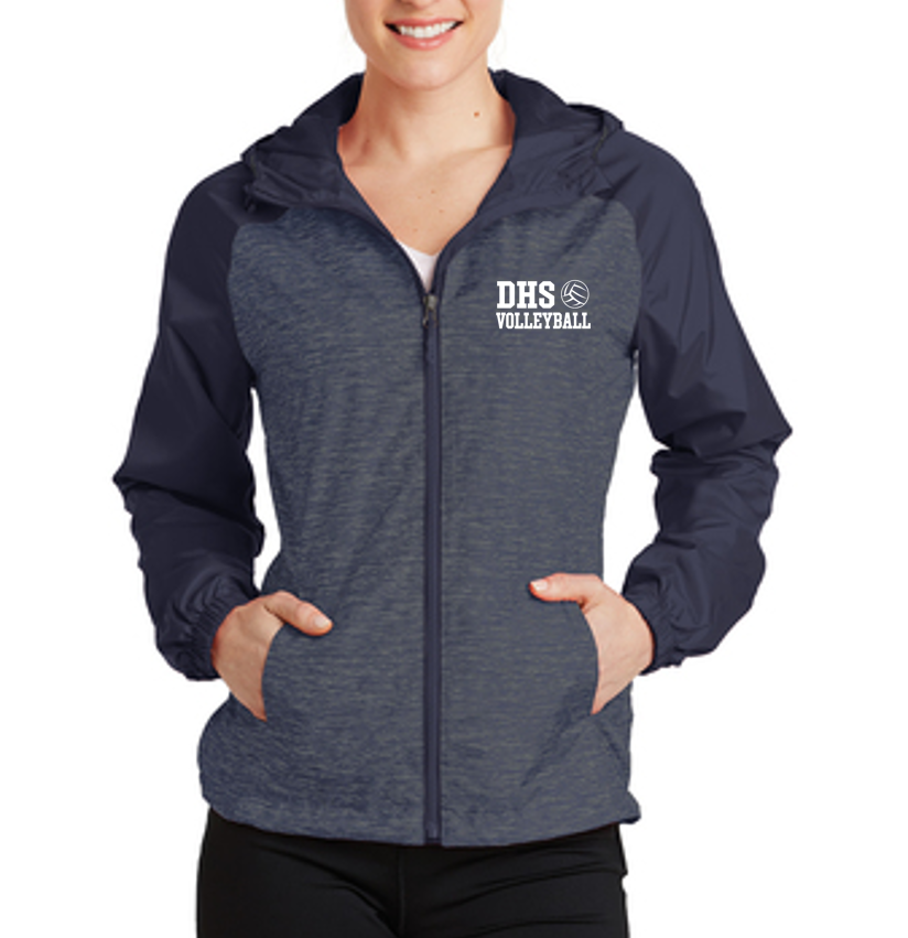 Raglan Hooded Wind Jacket - Ladies - Delcastle Volleyball