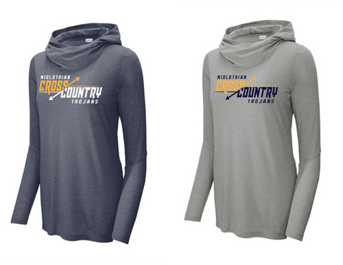 Ladies Tri-Blend Wicking Long Sleeve Hoodie - Midlothian XC