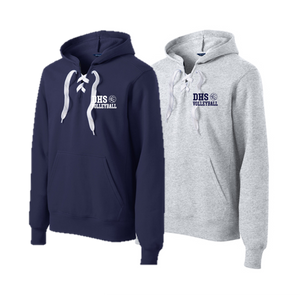 Lace Up Pullover Hooded Sweatshirt - Delcastle Volleyball