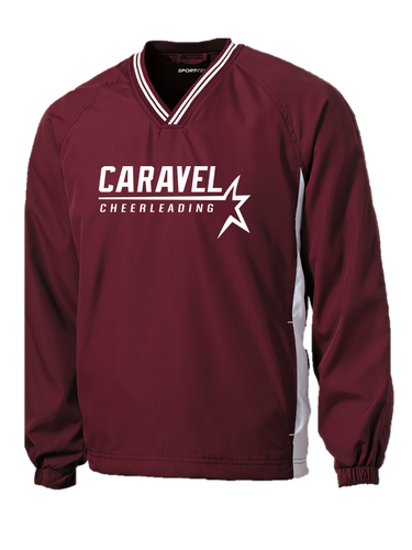 Tipped V-Neck Raglan Wind Shirt - Caravel Academy Cheer