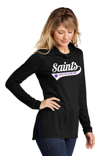 Ladies Tri-Blend Wicking Long Sleeve Hoodie - Saints Cheerleading